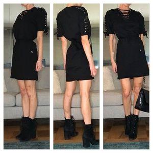 McQ Alexander McQueen Lace Up Jersey T Shirt Dress